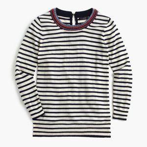 NWT J. Crew Tippi Striped Sweater Beaded Wool